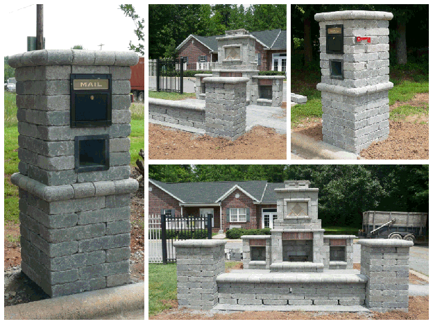 Stone Mailbox and Outdoor Fireplace with Two Wood Boxes and Bench Seat